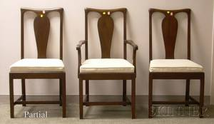 Set of Twelve Queen Anne Style Mahogany Dining Chairs with Upholstered Cushion Seats