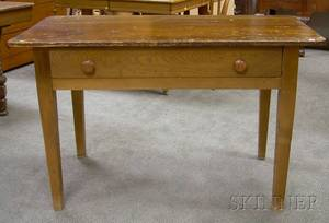 Pine and Oak Kitchen Table with Drawer