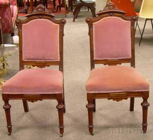 Pair of Victorian Renaissance Revival Upholstered Carved Walnut Parlor Side Chairs
