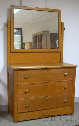 Late Victorian Oak Mirrored Dresser