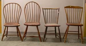 Two Windsor Rodback Side Chairs and Two Windsor Bowback Side Chairs