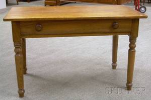 Country Pine and Oak Side Table with Drawer