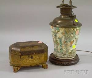 Chinese Export Porcelain Kerosene Table Lamp and Gilt Decorated Black Lacquer Tea Caddy