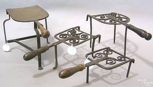 Three English wrought iron bar trivets 18th c