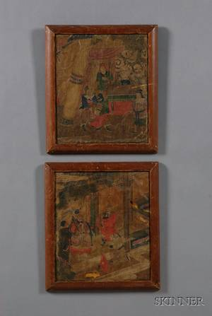 Two Framed Chinese Painting Fragments
