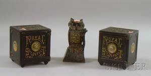 J  E Stevens Painted Cast Iron Owl Mechanical Bank and a Pair of Painted Cast Iron Royal Safe Deposit Safe Still Banks