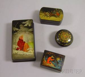 Four Small Russian Lacquer Boxes