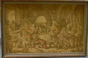 Large Framed Belgian Machinemade Tapestry Depicting a Tavern Interior Scene with Cavaliers