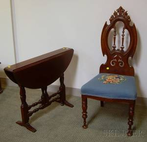 Victorian Needlepoint Upholstered Carved Walnut Hall Chair and a William  Mary Style Mahogany Dropleaf Gatel