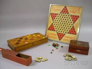Two Country and Vintage Game Boards and Two Sets of Bone and Ebony Dominoes