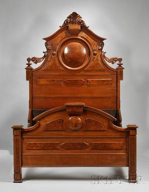 Victorian Renaissance Revival Carved Walnut and Burl Veneer Bed and White Marbletop Carved Walnut and Burl Veneer Dropwell Mirr