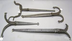 Four pairs of Pennsylvania wrought iron strap hinges 18th c