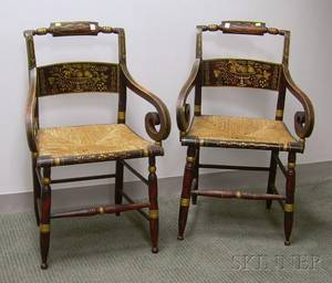 Pair of Classical Grain Painted and Stencil Decorated Armchairs with Seats