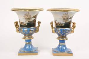 Pair of Hand Painted  Parcel Gilt Porcelain Urns