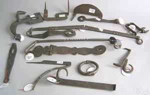 Group of Pennsylvania wrought iron Conestoga wagon hardware