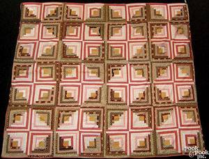 Pennsylvania pieced log cabin quilt early 20th c