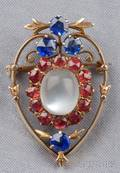 Antique 14kt Gold and Moonstone Brooch