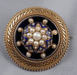Antique 14kt Gold Enamel and Seed Pearl Brooch