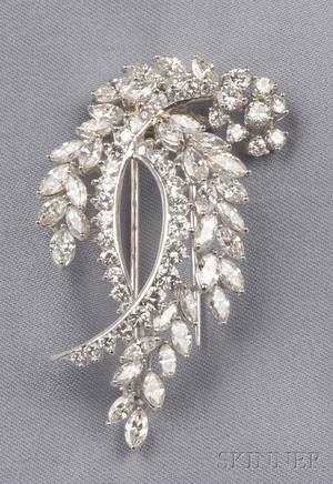 Platinum and Diamond Double Leaf Brooch