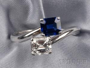 Platinum Diamond and Sapphire Bypass Ring Cartier London