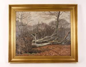 Knud Olsen Forest Landscape Oil on Canvas