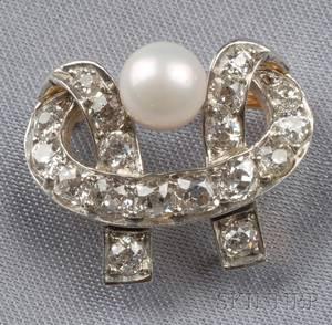 Edwardian Diamond and Pearl Pin