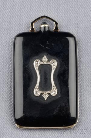 Art Deco 14kt Gold Enamel and Diamond Pendant Locket
