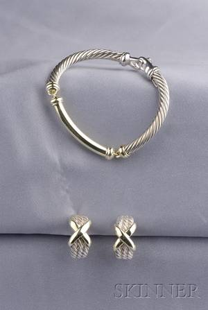 Sterling Silver and 14kt Gold Bracelet and Earrings David Yurman