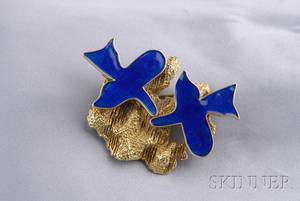 ArtistDesigned 18kt Gold and Enamel Oiseaux Brooch Georges Braque