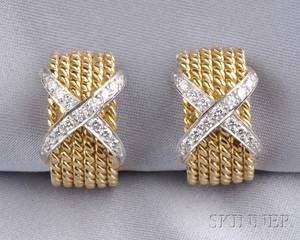 18kt Gold and Diamond Rope Earclips Schlumberger Tiffany  Co