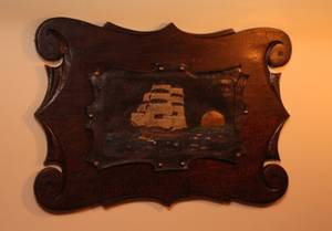 Leather on Wood Nautical Ship by Jerry Margolis