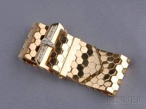 Retro 18kt Rose Gold and Diamond Buckle Bracelet