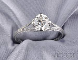 Art Deco Platinum and Diamond Solitaire Tiffany  Co