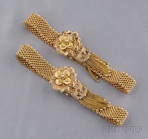 Pair of Antique 14kt Gold Enamel and Seed Pearl Slide Bracelets