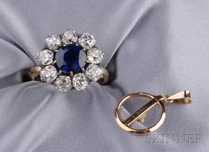 Antique Sapphire and Diamond RingPendant