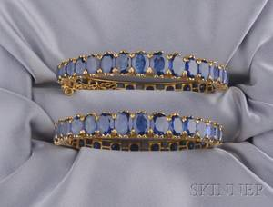 Pair of High Karat Gold and Sapphire Bracelets
