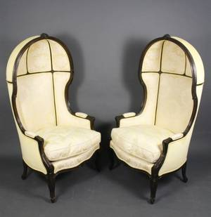 Pair of Louis XV Style Canopied Bergeres