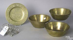 Five pcs of metalware to include 3 brass bowls stamped Hiram W Hayden