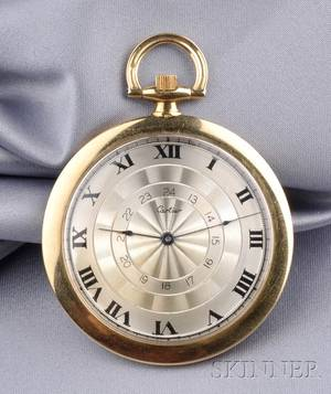 Art Deco 18kt Gold Open Face Pocket Watch Cartier