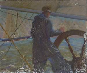 Unframed Oil on Canvas Sailing Image by Langdon Gillet American 20th Century