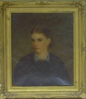 Framed American School Oil on Canvas Portrait of a Young Woman in a Black Dress