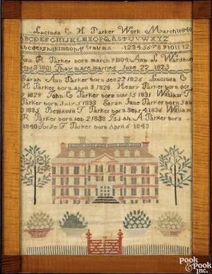 Virginia silk on linen needlework sampler dated 1840