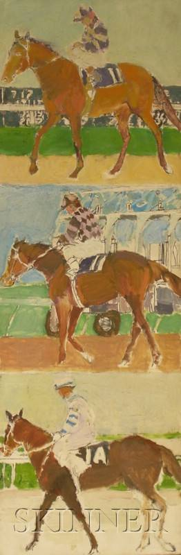 Barnet Rubenstein American 20th Century Lot of Two Unframed Oil on Canvas Scenes of Horses and Jockeys