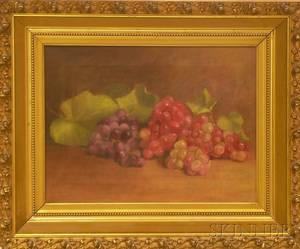 Framed 20th Century American School Oil on Canvas Still Life with Grapes