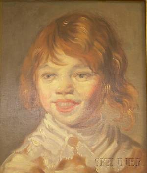 Framed Oil on Panel Portrait of a Laughing Child by Aiden Lassell Ripley American 18961969 After Fran