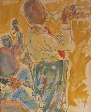 Two Framed Oil on Canvas Portraits of Jazz Musicians by Richard Freniere American 19212008