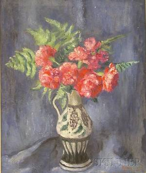 Framed Oil on Canvas Still Life with Flowers by Kalman Oswald American 18881975