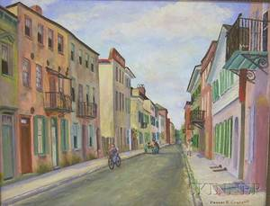 Framed Oil on Canvas View of Tradd Street Charleston South Carolina by Eleanor Rutherford Craighill American b 1896