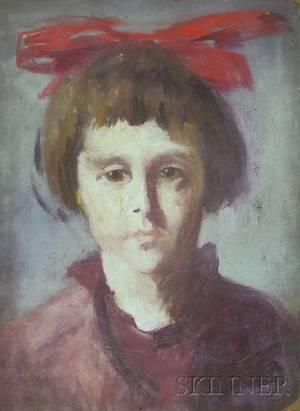 Two Oil on Board Portraits by Kalman Oswald American 18881975
