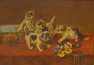 Late 19th Century American School Oil on Canvas Depicting Kittens at Play on a Tabletop